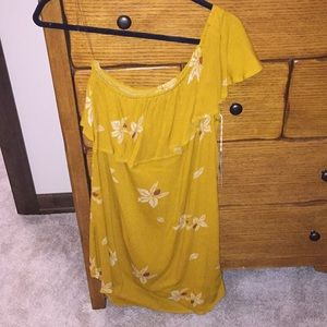 Mustard Colored Floral Dress